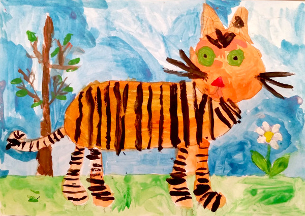 Цветкова Мирра, 5 лет. Тигр Амур , смешанная техника.